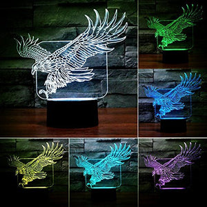 Superniudb Eagle Lamp Acrylic 3D Led Usb Night Light 7 Color Change Led Table Lamp Xmas Toy Gift