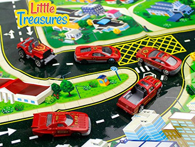 Little Treasures Toy, Alloy Fire Car Models, Sleek Red
