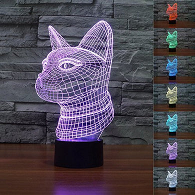 Superniudb 3D Cat Night Light Acrylic 3D Led Usb 7 Color Change Led Table Lamp Xmas Toy Gift