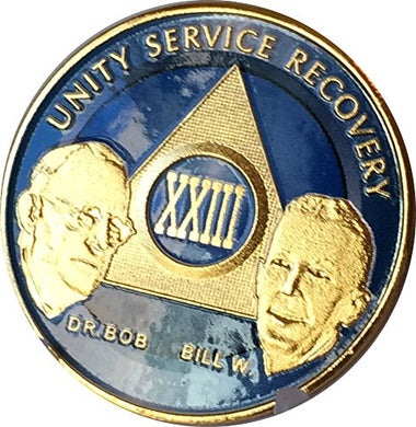 23 Year Xxiii Ocean Breeze Blue & Gold Plated Aa Founders Medallion Chip Bill W Dr Bob