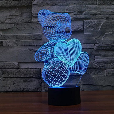 Miss.Aj Love Cute Heart Bear 3D Night Light, Led Illusion Lamp 7 Color Touch Switch Table Desk Lamp For Kids Gifts