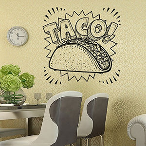 Wall Vinyl Sticker Decals Mural Room Design Pattern Art Taco Mexican Guy Food Kitchen Burrito Mi974