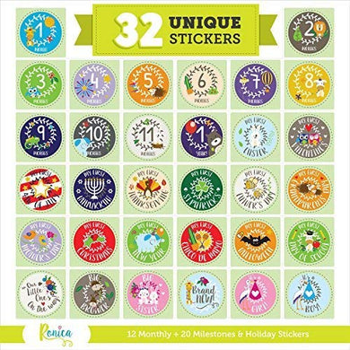 Massive Baby Stickers, 12 Baby Monthly Stickers, 20 Popular Milestones Baby Stickers, Record Your Baby'S Growth, Holidays And Special Firsts, Unique Baby Gifts- Holiday Theme