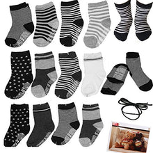 Load image into Gallery viewer, Yaobabymu 6 Pairs 16-36 Months Baby Boy'S Girl'S Non Skid Ankle Cotton Toddler Anti Skid Slip Slipper Stretch Knit Socks And Gift , Footsocks Sneakers Socks,Length 10-12Cm