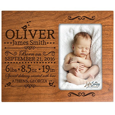 Lifesong Milestones Personalized New Baby Birth Announcement Picture Frame For Newborn Boys And Girls Custom Engraved Photo Frame For New Mom And Dad Parents And Grandparents (Cherry)