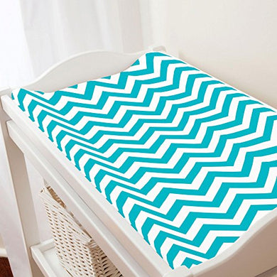 Carousel Designs Teal Chevron Changing Pad Cover - Organic 100% Cotton Change Pad Cover - Made In The Usa