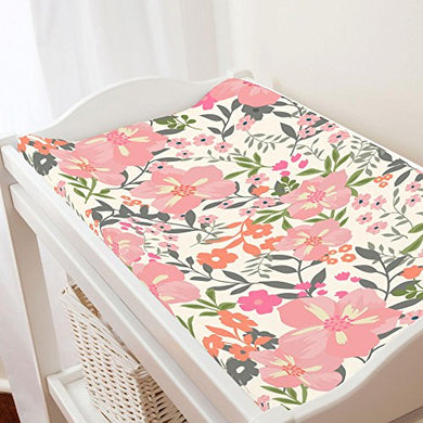 Carousel Designs Pink And Orange Floral Tropic Changing Pad Cover - Organic 100% Cotton Change Pad Cover - Made In The Usa