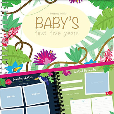 Baby First Five Years Memory Book Jungle Edition - Keep Your Baby'S First Memories Safe And Close In This Unique Hard Cover Photo Scrapbook - Perfect Way To Keepsake Your Family'S Special Moments