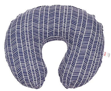 Maternity Breastfeeding Pillow Cover By Danha-Newborn Baby Feeding Cushion Case-Cute Donut Shape Wedge Pillow-Best Infant Support-For New Moms-Navy Herringbone Prints Slipcover-Breathable Soft Fabric