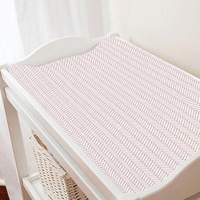Carousel Designs White And Coral Classic Herringbone Changing Pad Cover - Organic 100% Cotton Change Pad Cover - Made In The Usa