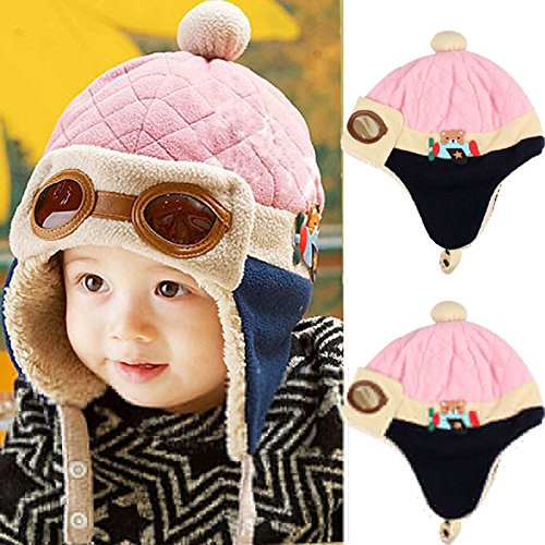 Feitong Cute New Kids Girls Boys Hats Winter Warm Cap Hat (Pink)