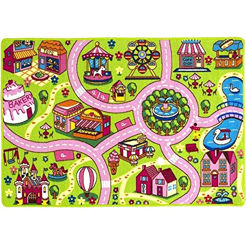 Mybecca Kids Rug 5' X 7' Colourful Fun Land Roads Childrens Floor Play Children Area Rug Mat For Playroom &Amp; Nursery (59  X 82 ) Manufacturer'S Suggested Retail Price $149.99