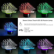 Load image into Gallery viewer, Creative 3D Vehicle Design 7 Colors Optical Illusion Led Night Lights With Unique Lighting Effect Special Visualization Home Decor (Sailboat)