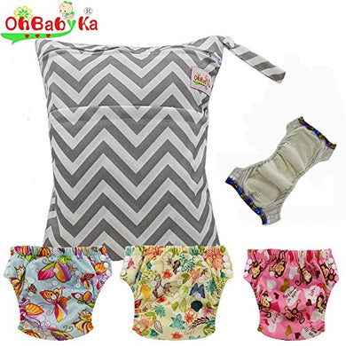 Baby Waterproof Reuseable Training Nappy Diapers 3Pcs, A Wet Dry Bag By Ohbabyka