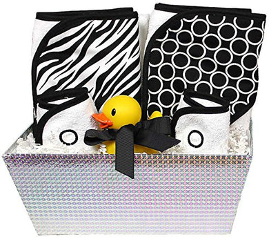 Raindrops Wild About Prints Hooded Towel Set, Black Zebra