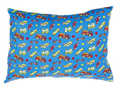Bb My Best Buddy Toddler Pillowcase- Trucks And Engines Design For Your Kids - 13 X 18 - Shrinks To Fit - 100% Cotton - Naturally Hypoallergenic And Soft - Made In Usa