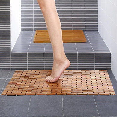 Yaheetech Foldable Bamboo Bath Mat Shower Spa Mat 27-Inch X 20-Inch, Wood, Non-Skid Backing