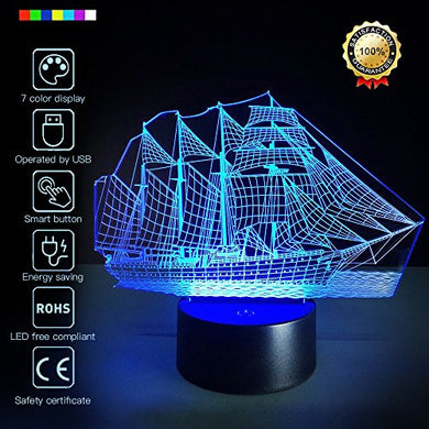 Creative 3D Vehicle Design 7 Colors Optical Illusion Led Night Lights With Unique Lighting Effect Special Visualization Home Decor (Sailboat)
