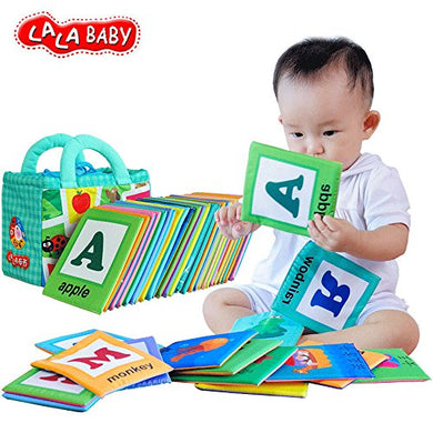 Lalababy 26 Pcs Alphabet Letters Cards With Bag Baby Early Education Cotton Soft Cloth Book For Over 0 Years
