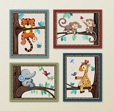 Treetop Jungle Animal Buddies Nursery Wall Art Prints (8 X10 , (4) Set Of Four)
