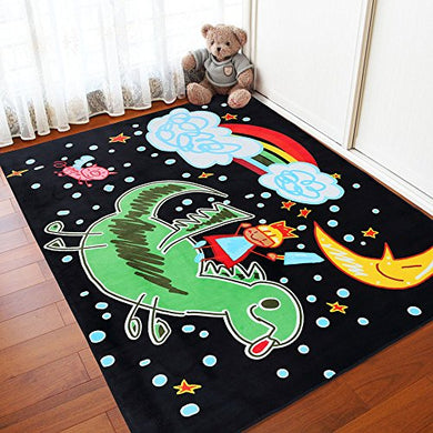 Ruihome Baby Toddler Play Rug Children Crawling Mat For Bedroom Living Room Playroom Hard Surface (51  X 73, Little Knight Printed Design)