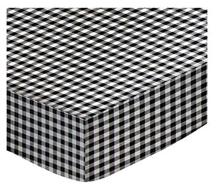 Sheetworld Fitted Cradle Sheet - Black Gingham Check - Made In Usa