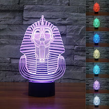 Load image into Gallery viewer, Superniudb 3D Egypt Sphinx Pharaoh Lamp 3D Night Light Table Desk Optical Illusion Lamps 7 Color Changing Lights