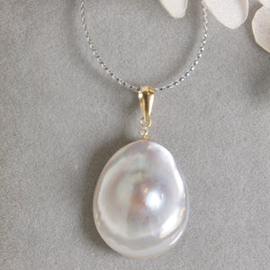 美億年珠寶 日本馬貝珍珠 鑽石 18K 金吊墜 項鍊 頸鏈 melinie jewelry mabe Japanese pearl  diamond 18K gold pendant necklace
