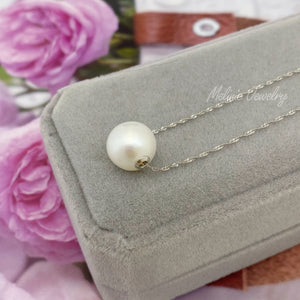 Solo Oversized Floating Pearl 18K Gold Necklace