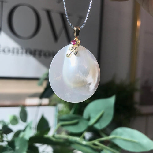 美億年珠寶 18K金日本馬貝珍珠 吊嘴 吊墜 頸鏈 melinie jewelry gold mabe japanese pendant necklace pearl