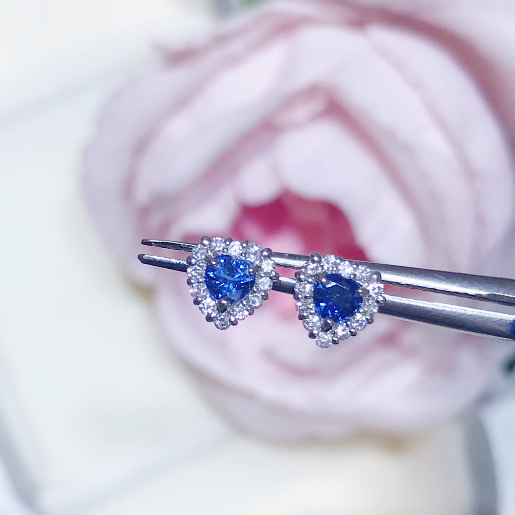 藍寶石耳環 鑽石鉑金 blue sapphire diamond earrings