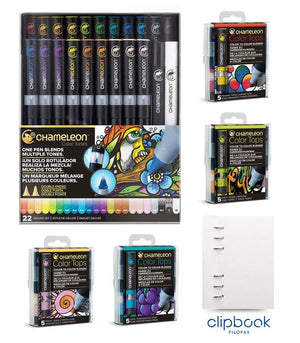 Chameleon Bundle – 22 Original Chameleon Pens, 20 Color Tops mit Personal Clipbook von Filofax