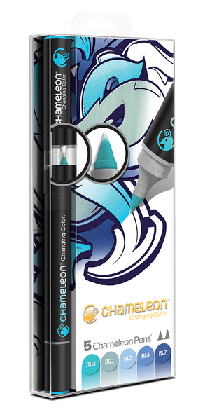 Chameleon 5 Pen Blue Tones Set front packaging
