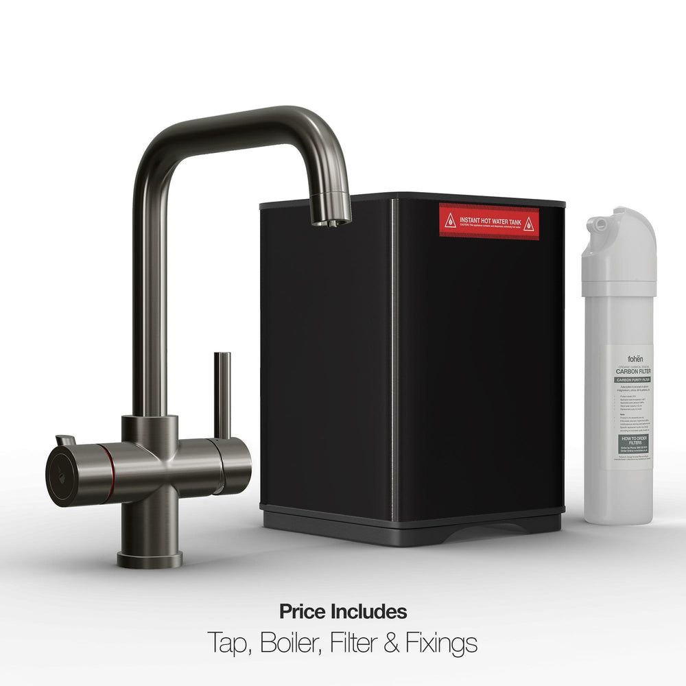 Fohën Fahrenheit | Brushed Gunmetal Grey | 3-in-1 Instant Boiling Water Tap