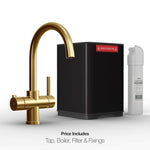Fohën Furnas | Brushed Gold | 3-in-1 Instant Boiling Water Tap with Swan Neck