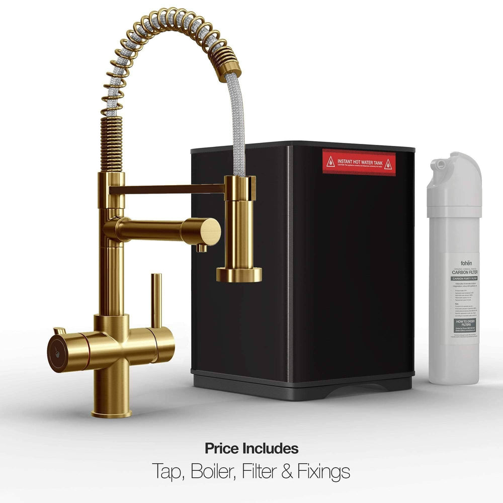 Fohen FK01G Fohën Flex | Brushed Gold Boiling Water Tap | Flexible Spout