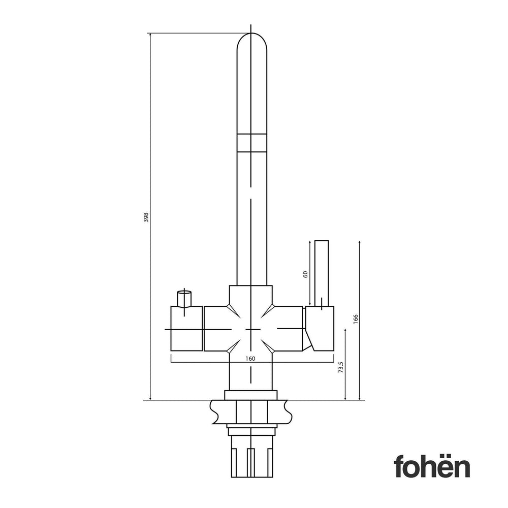 Fohen CK02Z Fohën Brushed Gold 3-in-1 Instant Boiling Water Taps