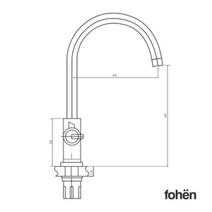 Fohen CK02A Fohën Furnas | Polished Chrome Boiling Water Tap with Swan Neck