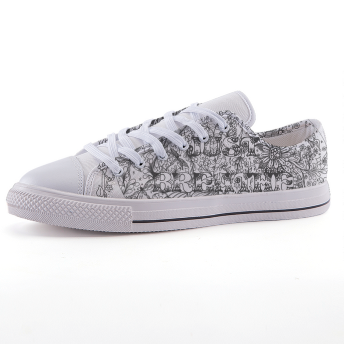 Just Breath - Zentangle Inspired | Low-top fashion canvas shoes