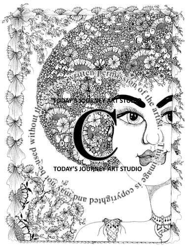 Beautiful Kylie -  Zentangle® Inspired Instant Digital Download