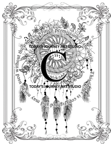Dreamcatcher1 - Zentangle® Inspired Instant Digital Download