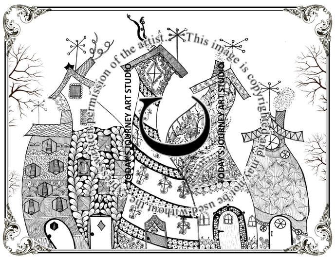 Life In The Neighborhood - Zentangle® Inspired Instant Digital Download