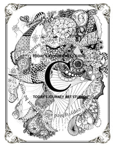Paisley Time - Zentangle® Inspired Instant Digital Download
