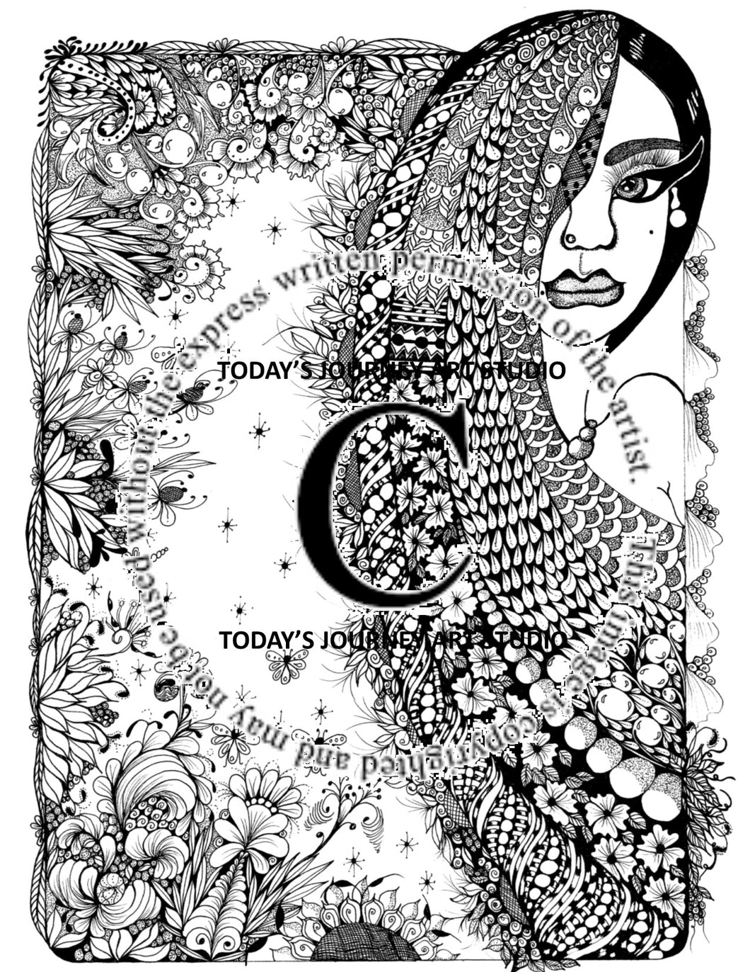 Pretty Lady -  Zentangle® Inspired Instant Digital Download Coloring Page