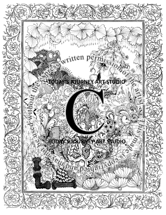 Steps of Love - Zentangle® Inspired Instant Digital Download Coloring Pages
