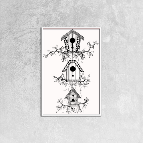 3 Bird Houses | Canvas Prints Wall Art Ready to Hang, 16ⅹ24 inch