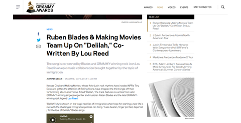 "Ruben Blades & Making Movies Team Up On ""Delilah,"" Co-Written By Lou Reed"