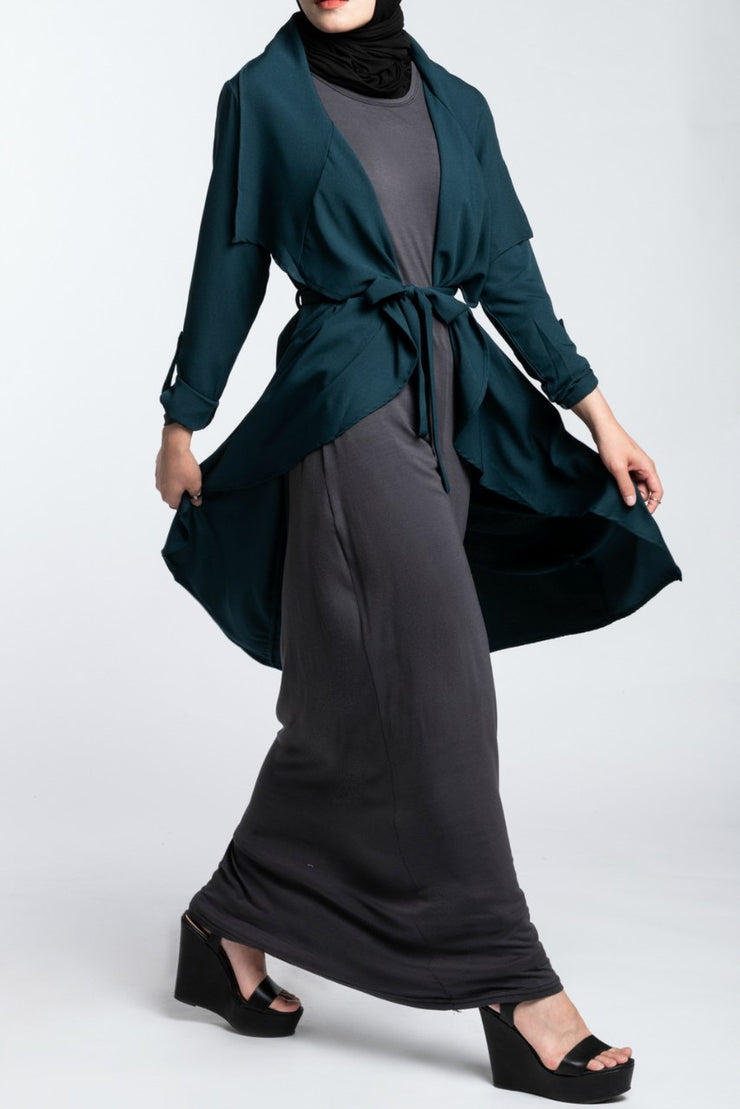 WATERFALL TRENCH CARDIGAN- DEEP EMERALD GREEN - www.abayaaddict.com