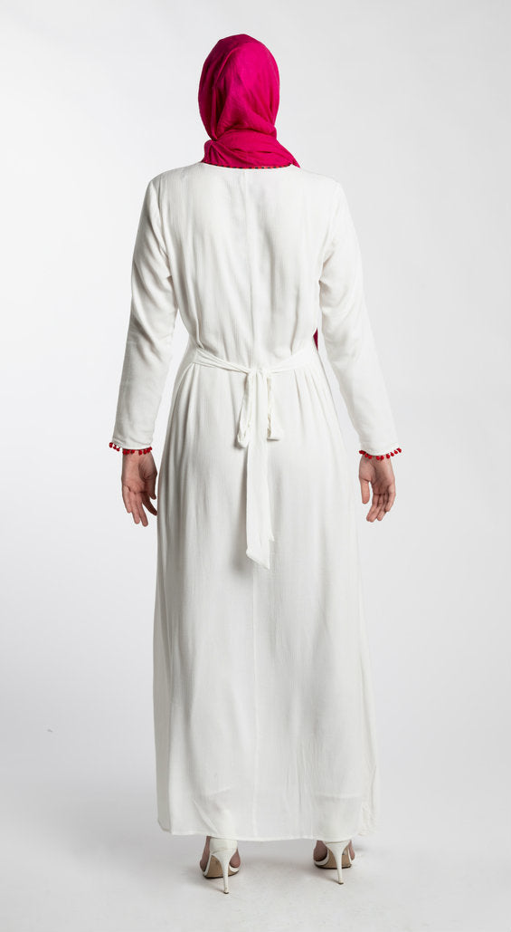 EMBROIDERED MAXI DRESS-WHITE - www.abayaaddict.com