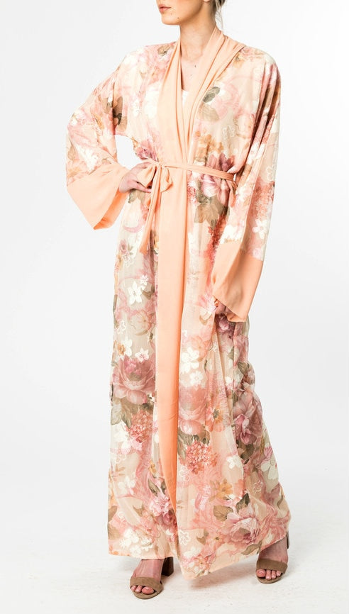 PEACH FLORAL OPEN Textured Abaya